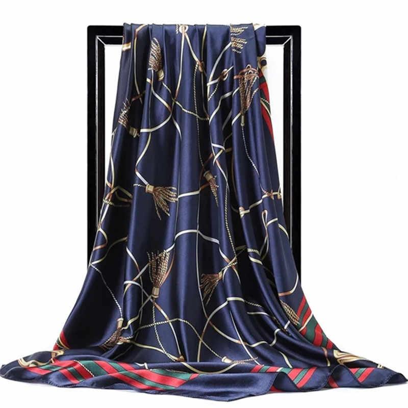 גדול חיג 'אב צעיפים לנשים אופנה הדפסת משי סאטן צעיף נקבה 90cm x 90cm יוקרה מותג כיכר צעיפים ראש צעיפים לנשים