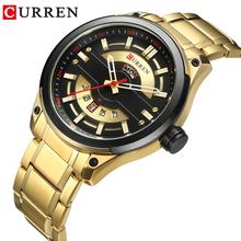 CURREN Men Brand Quartz Wristwatch Stainless Steel Band Dail Waterproof Mens Calendar Dial Clock Relogio Masculino