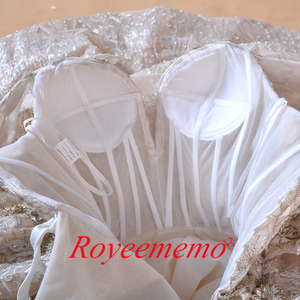 Image 5 - หรูหราดูไบคำปิดไหล่ appliques ลูกไม้ชุดแต่งงานภาพถ่ายจริง 2020 ชุดเจ้าสาว Vestido de noiva ชุดเจ้าสาว