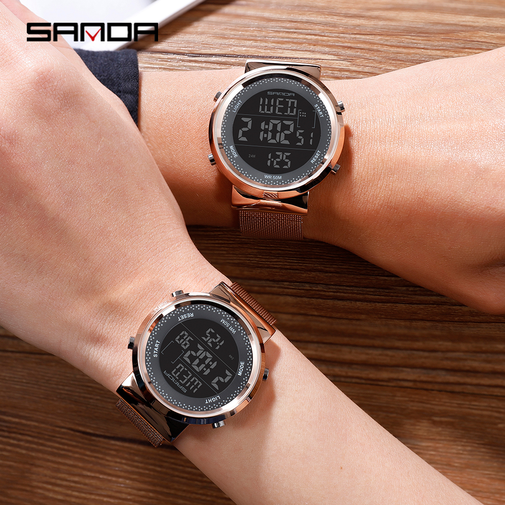SANDA Fashion Couple Watches Men Women Luxury Stainless Steel Waterproof Digital Watch LED Electronic Wristwatches For Lovers