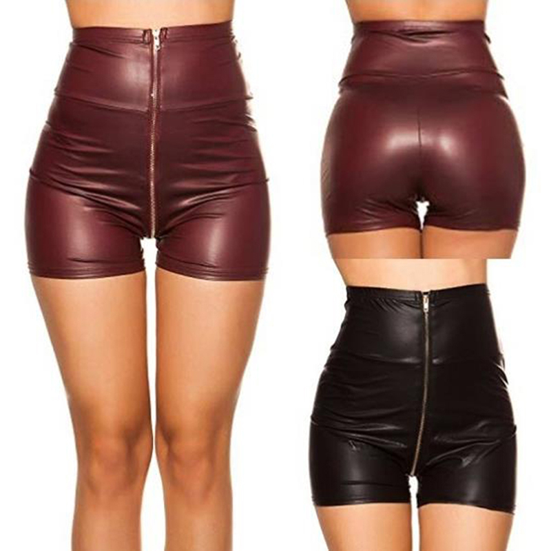 Women Black Red PU Leather High Waist Shorts Faux Leather Shorts Autumn Winter Loose PU Shorts Zipper