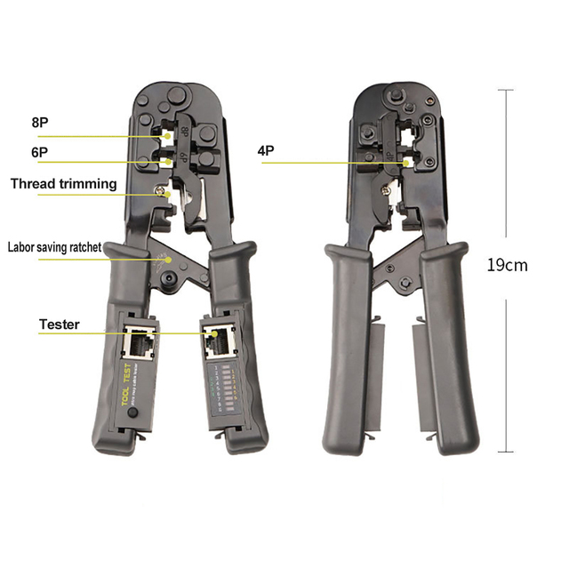 OULLX Multifunctional RJ45 Network Cable Crimper 8P6P4P Three-Purpose Tester Ratchet Tool Squeeze Crimping Wire Network Pliers