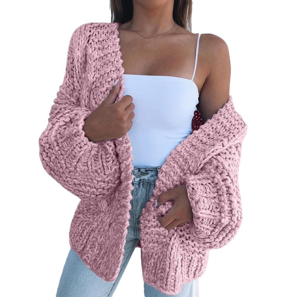 Winter Fashion Women Thick Sweater Cardigan Warm Solid Color Open Front Coat 2020 New Fashtion Womens Turtleneck