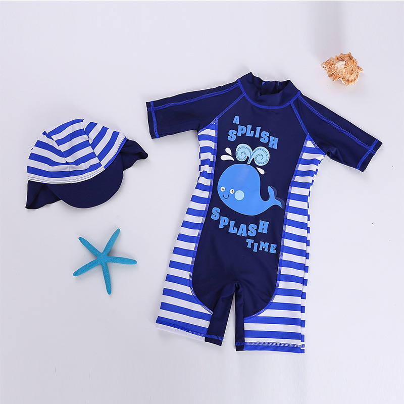 KID'S Swimwear BOY'S Sun-resistant New Style Foreign Trade Japanese And South Korean Style One-piece Swimming Suit Send Swimming