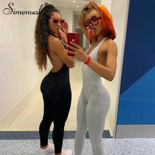 Simenual Solide Bodycon Halter Frauen Lange Overalls Dünne Backless Sleeveless Workout Overalls Sportswear Fashion Grund Overall