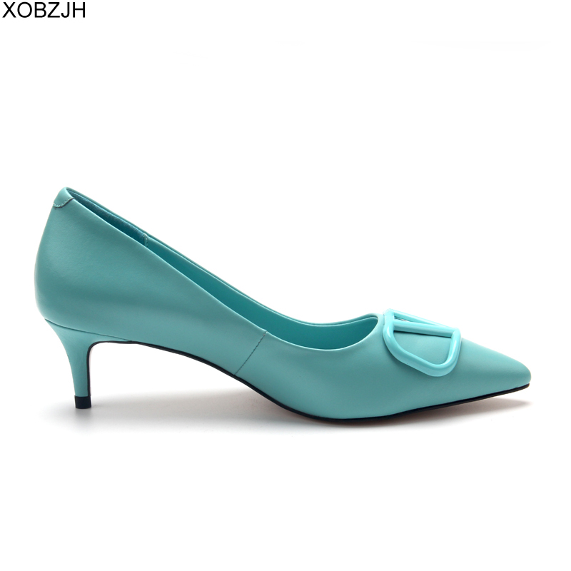 Italian Office Shoes Women Low Heels Pumps 2019 Luxury Brand Designer Pumps Sky Blue Ladies Genuine Leather Sandals Shoes Woman