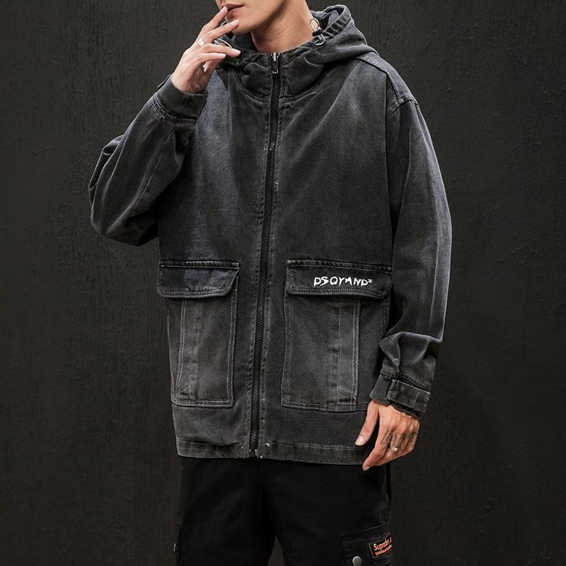 Oversize M-5XL Letter Printing 2019 New Brand Black Denim Coat Men Fashion Loose Casual Streetwear Cloth Soft Men Hooded Jacket