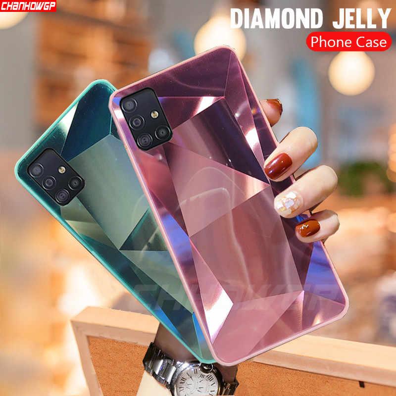สำหรับ Samsung Galaxy A51 กรณี 3D Diamond Prism Holographic เลเซอร์สำหรับ Samsung Galaxy A71 SM A515F A717F A 51 71 ปก