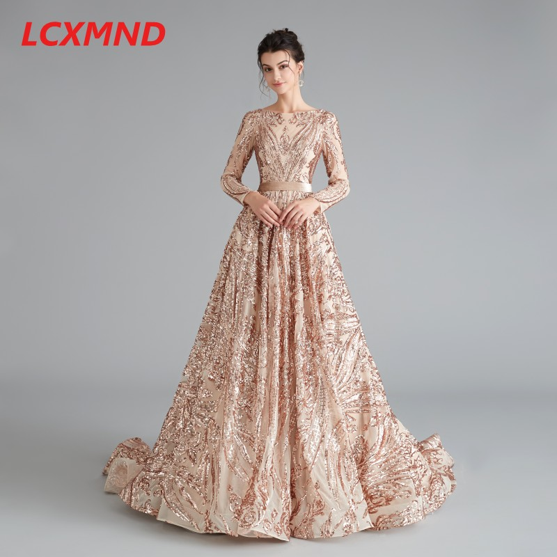 Gold Sequin Long Sleeve Formal Evening Dress Long Empire Bateau Party Prom Dress A Line Backless Evening Gown 2019 Plus Size