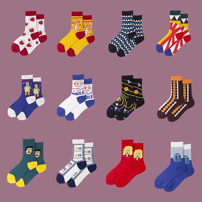 Women Ins Korean Cartoon Illustration Cotton Socks Original Casual Streetwear Funny Socks Couples Vintage College Style Sox