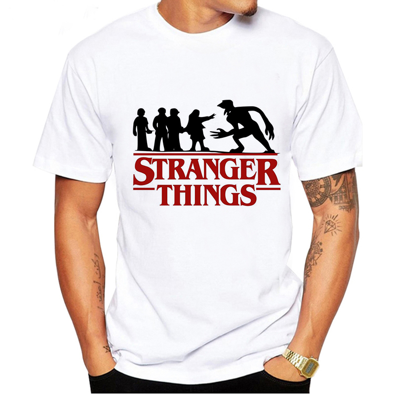 LUSLOS Funny T-Shirt Men Stranger Things T Shirt Summer Anime Upside Down Eleven Tshirt Short Sleeve Male Homme White Shirt