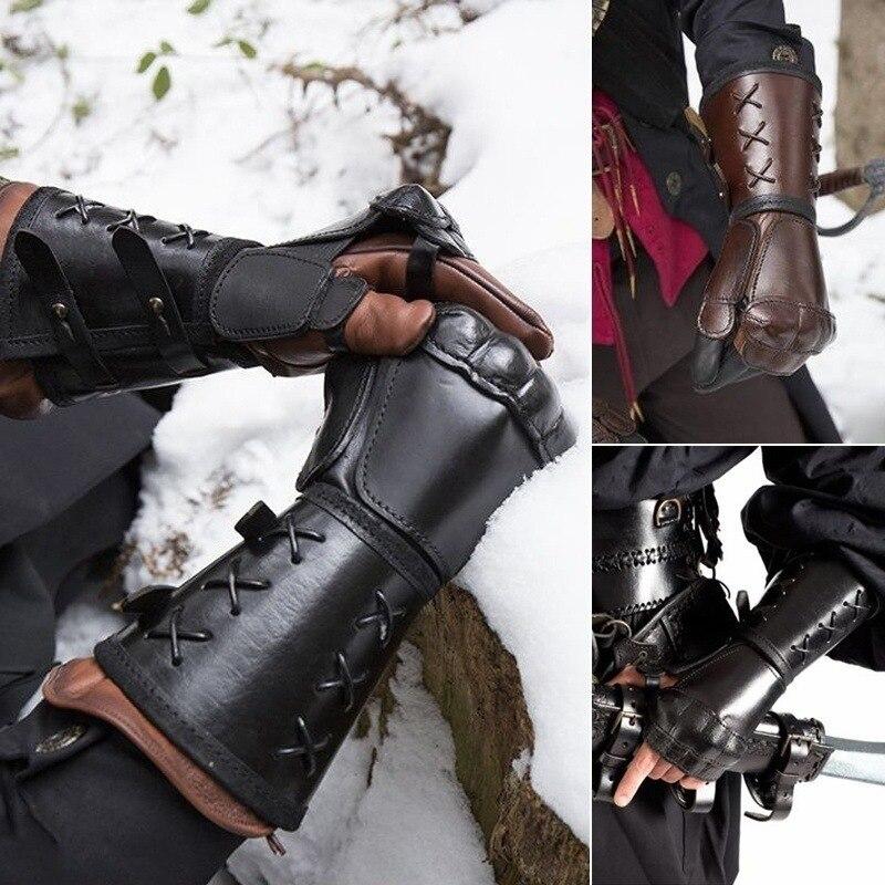 Средневековые броневые мотоциклетные перчатки с широкими манжетами, мужские перчатки в стиле стимпанк, воин, рыцари Ренессанса, темплар, кожа, на шнуровке|Аксессуары для костюмов для мальчиков|   | АлиЭкспресс