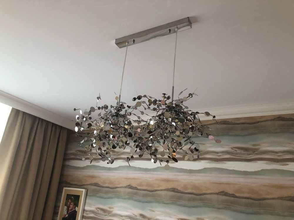 Terzani 銀色照明ハンドメイドステンレス鋼の葉のシャンデリアランプリビングルーム/ベッドルームの家 deor 照明