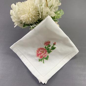 12 szt Chusteczka ślubna biała czysta Ramie tkanina chusteczka róża haftowana 13X13 cala tanie i dobre opinie Rosaliya CN (pochodzenie) Z dzianiny 100 Pure Ramie Panie ZZ-2138 żakaradowy White linen Handkerchiefs 13x13-inch 12 pieces 1 pack