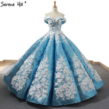 Blue Handmade Flowers Pearls Wedding Dress 2020 Dubai Luxury Off Shoulder Sexy Bridal Gown Real Photo 66662 Custom Made