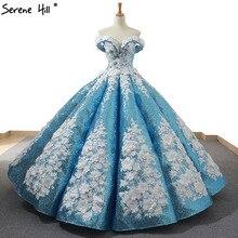Mavi el yapımı çiçekler inciler düğün elbisesi 2020 Dubai lüks kapalı omuz seksi gelin kıyafeti gerçek fotoğraf 66662 Custom Made
