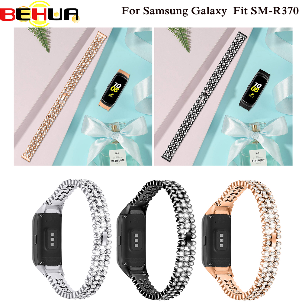 Luxury Beauty Steel Rhinestone Watch Band Strap With Shiny Wristband For Samsung Galaxy Fit SM-R370 SM R370 Smart New Watch Band