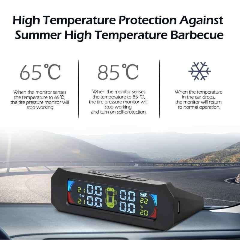 Sistema de monitoramento sem fio da temperatura da pressão dos pneus do carro tpms do lcd da cor solar com 4 sensores alarme da segurança automática