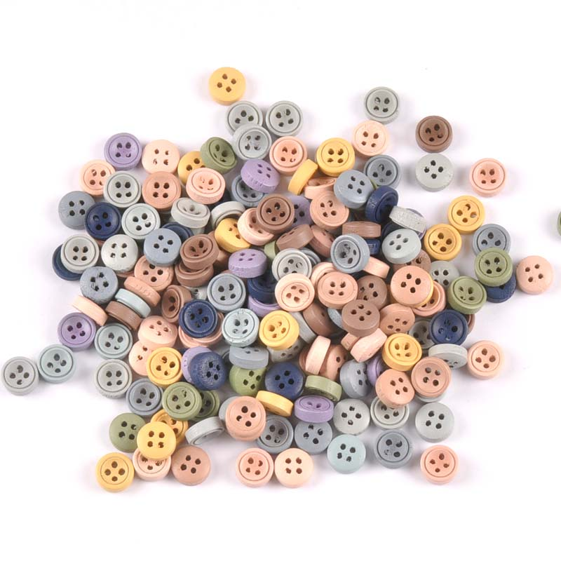 100pcs 9mm/<font><b>10mm</b></font> Mixed Wooden decorative <font><b>Buttons</b></font> For Sewing clothing Scrapbooking Crafts home decor MT2519 image