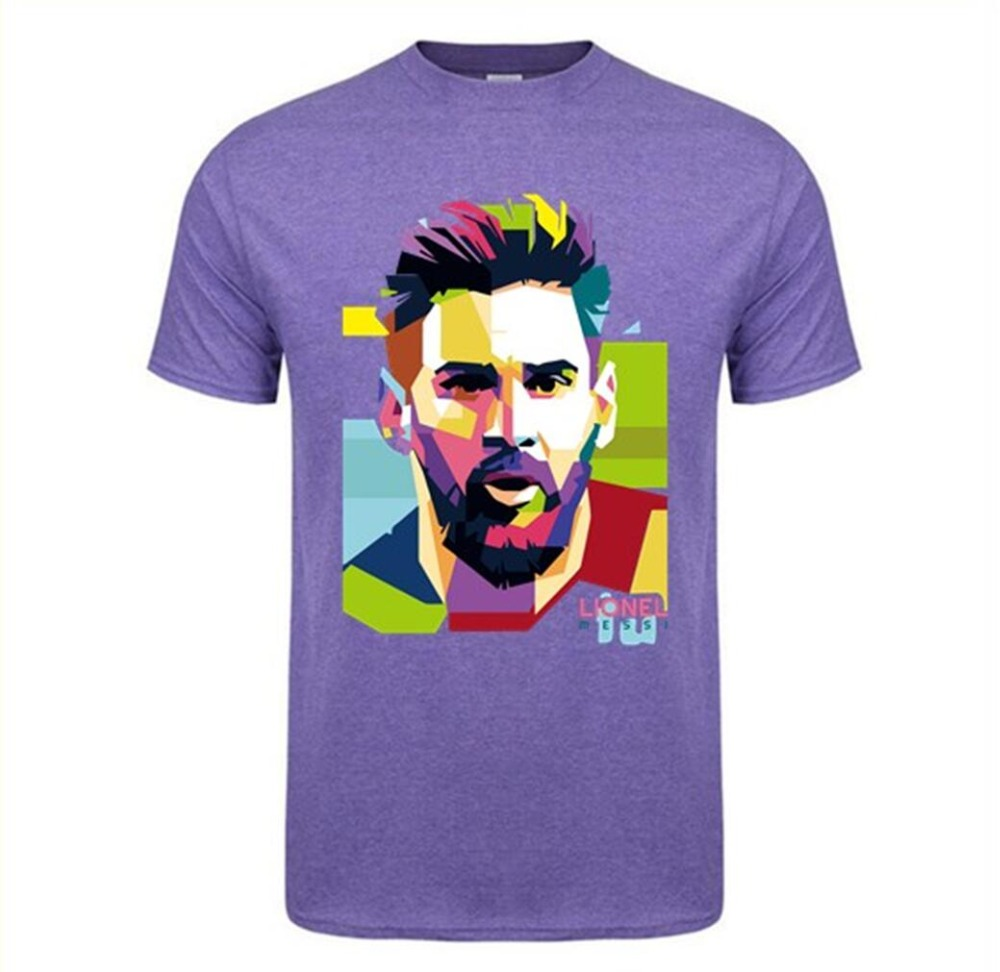 Fashion Printing Barcelona Men's Short Sleeve Messi 10 T-shirt Cotton Tshirt Tops Argentina Jersey Hipster Fans Tee Shirt