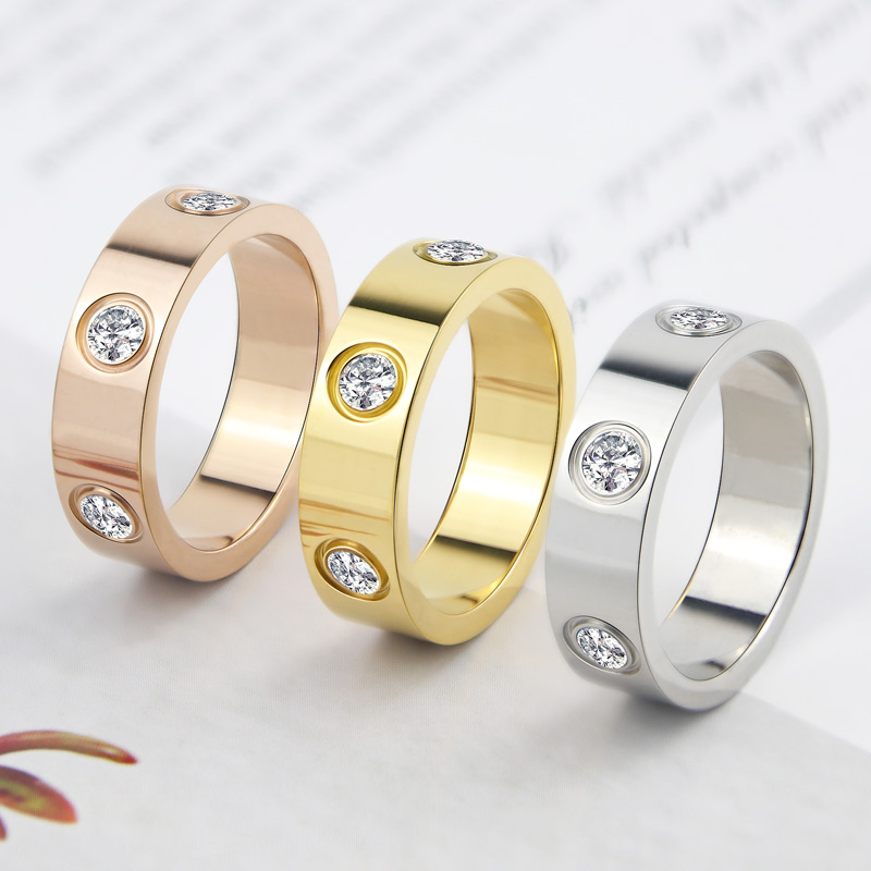 Luxury Shiny Rotating Circle Crystal Ring Stainless Steel Rose Gold Love Ring for Women Engagement gift Brands Ring