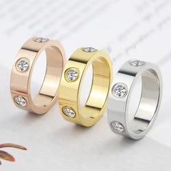 Anneau de cristal de cercle rotatif brillant de luxe en acier inoxydable bague d'amour en or Rose pour les femmes bague de marques de cadeau de fiançailles