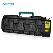 Fast charging Li-ion Battery Charger DCB104 For DeWalt 12V 14.4V 18V 20V DCB118 DCB200 4 Ports Charging Postion with USB Port fast battery charger 4 5a dcb118 dcb101 10 8v 12v 14 4v 20v li ion replacement for dewalt dcb205 dcb206 dcb203bt dcb204bt