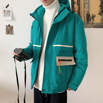 Winter Jacket Men's Warm Thicken Parka Men Fashion Hooded Coat Man Streetwear Contrast Color Cotton Jacket Male Clothes Outwear