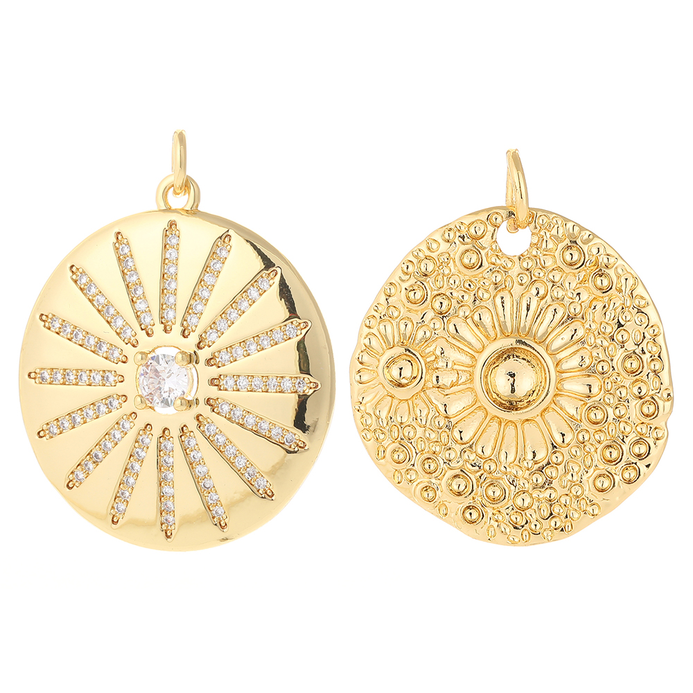 Flowers Charms for Jewelry Making Bulk Supplies Metal Round Tag Pendant Diy Earring Necklace Accessories Copper Zircon 5mm Hole