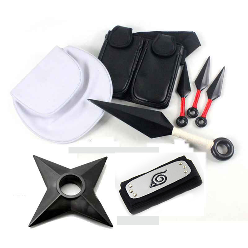 Anime Naruto 10pcs 8pcs Set  Cosplay Props  Plastic Kunai Shuriken Ninja Weapons Bags Set For Halloween Toys Collections