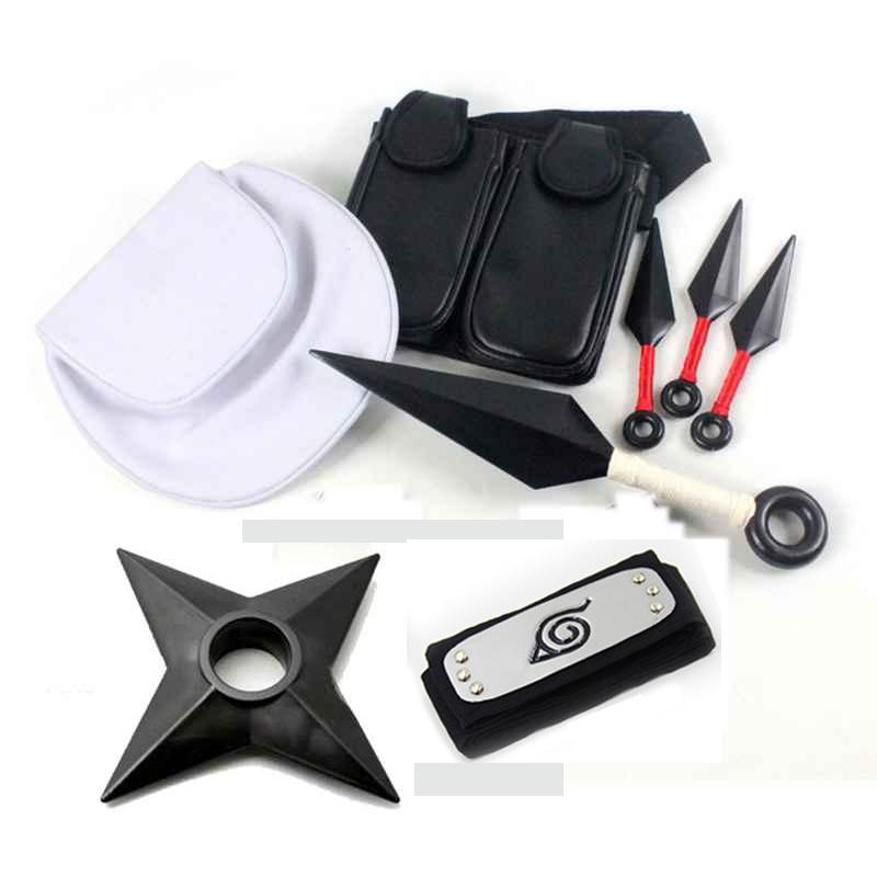 Anime Naruto 10pcs 8pcs Set  Cosplay Props  Plastic Kunai Shuriken Ninja Weapons Bags Set For Halloween Toys Collections