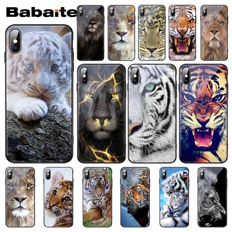 Babaite Abstract animal avatar <font><b>lion</b></font> wolf Tiger Cub Tempered Glass Phone <font><b>Case</b></font> For <font><b>iphone</b></font> 11 Pro XS MAX XR 8 X 7 <font><b>6S</b></font> 6 Plus image