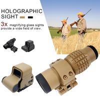 Охота 3x оптический прицел с увеличением увеличительное стекло для крепление оптического прицела винтовки подходит голографический и рефл...