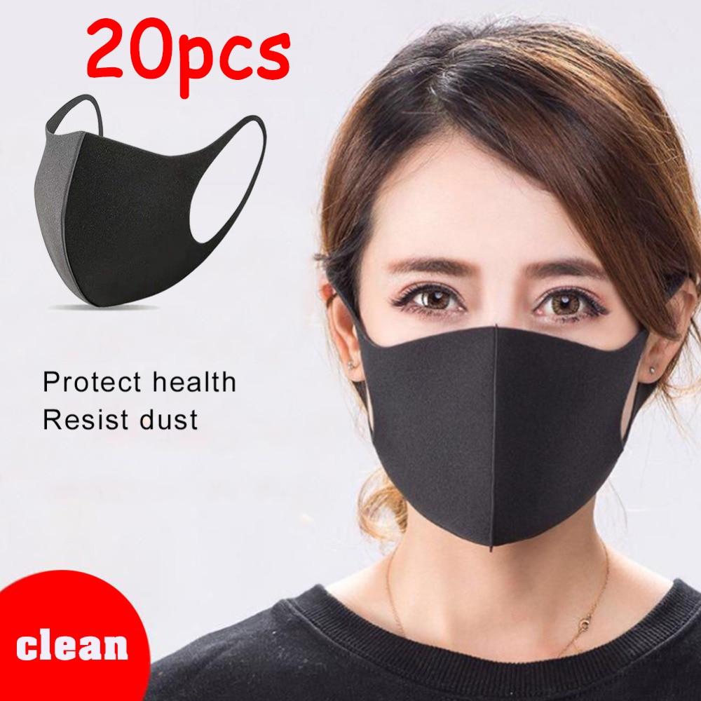 20 Pcs Cotton Anti-dust Mask Flu Face Mask Korean Unisex PM2.5 Washable Reusable Anti Haze Mouth Mask Warm Mask Black