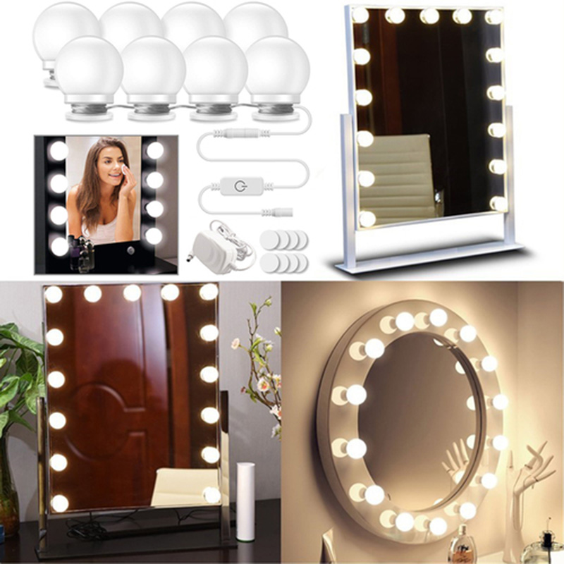 Makeup Mirror Vanity LED Light Lamp Make up Mirrors Cosmetic lights 110V 220V USB Bulbs for  D25