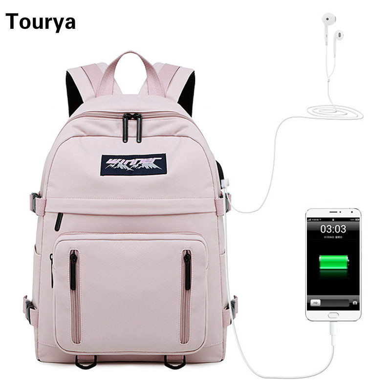 Tourya Waterproof Women USB Charge Backpacks School Bag For Teenagers Girls Travel Bagpack Laptop Rucksack Bookbag Mochila