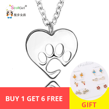 StrollGirl 100% 925 Sterling Silver Dog Paw Heart Necklaces Lovely Pendant Necklace Women Jewelry Chain Gift For Dog Lover Hot strollgirl infinite love angle heart 925 sterling silver chain pendant necklace fashion jewelry necklaces