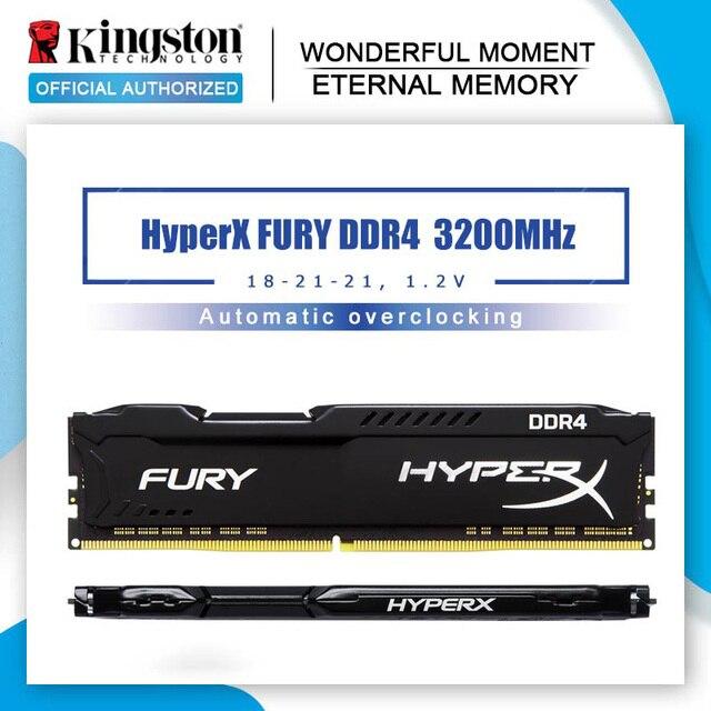 קינגסטון HyperX זעם DDR4 2666MHz 8GB 2400MHz 16GB 3200MHz שולחן העבודה זיכרון RAM זיכרון DIMM 288 פין הפנימי שולחן העבודה זיכרון למשחקים