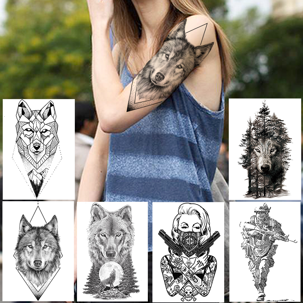 Geometric Rhombus Wolf Tattoos Temporary Black Henna Tattoo Sticker For Men Women Soldier Warrior Body Art Arm Leg Tatoo Paper