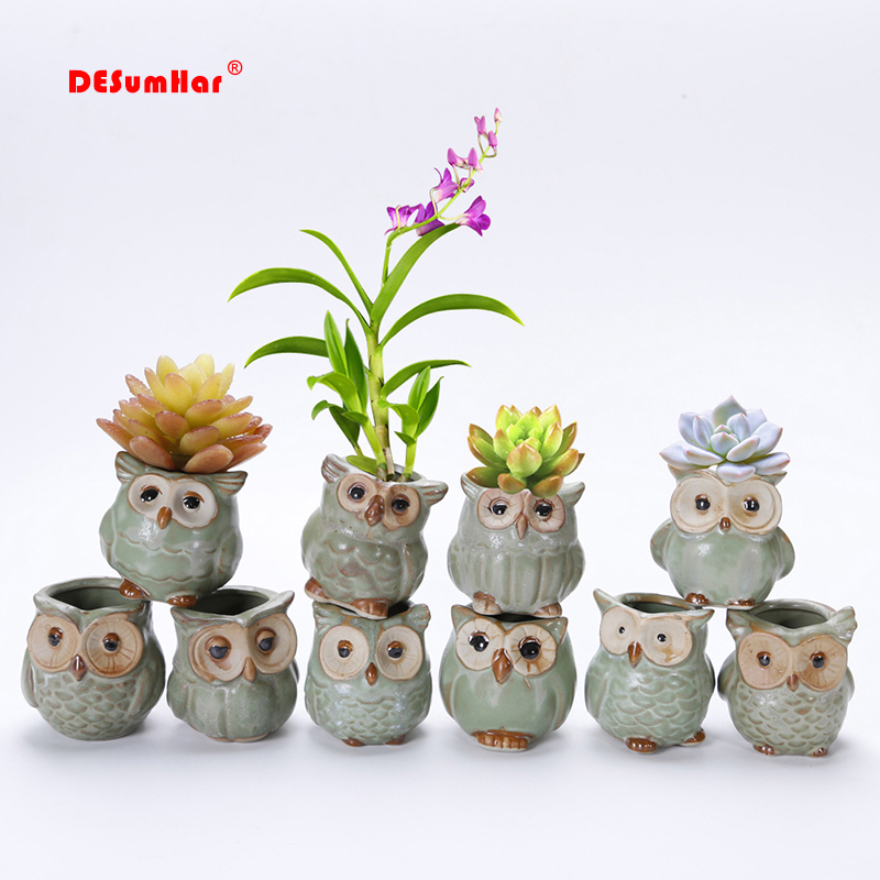 Creative 5 Pcs/Set Ceramic Owl Shape Flower Pots 2019 New Ceramic Planter Desk Flower Pot Cute Design Succulent Planter Pot