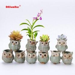 Criativo 5 pçs/set Coruja Forma de Cerâmica Vasos de Flores 2019 Nova Cerâmica Plantador de Vaso de Flores de Mesa Bonito Projeto Suculenta Planter Pot