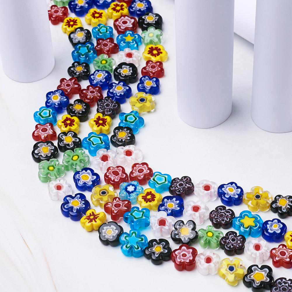 6-14mm Mixed Love Heart Round Millefiori Lampwork Flower Beads for Jewelry Bracelet Necklace Making DIY Craft(China)