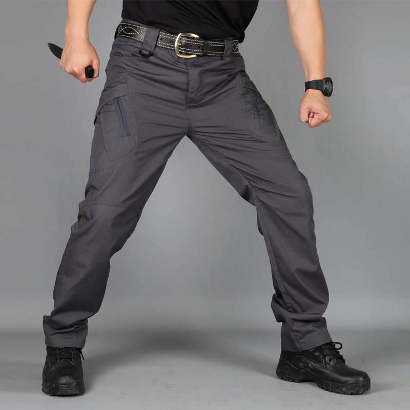 Cross Border For IX9 Slim Fit Tactical Pants Army Fans Straight-Cut Bib Overall Men's Wear-Resistant Multi-Bag Casual Trousers O