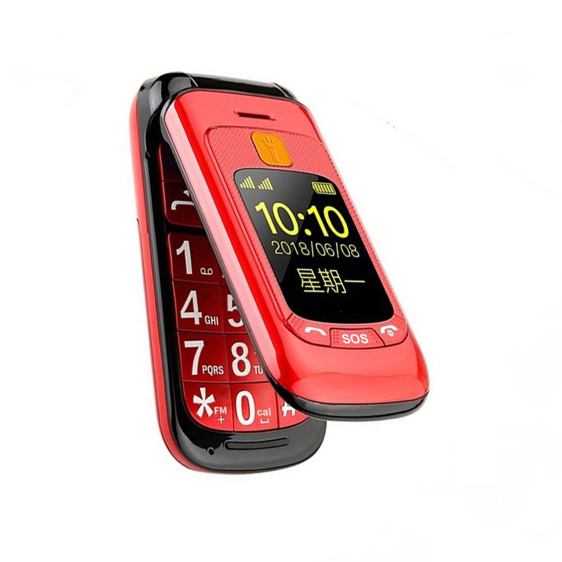 Flip Double Dual Screen Dual SIM SOS Key Speed Dial Touch Handwriting Russian Keyboard FM Senior Cellphone For Old People