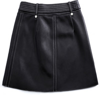 351 New Style Genuine Leather Skirt Women's Skirt Sheepskin High Waist A Line Dress Oblique Zipper Waistband Skirt