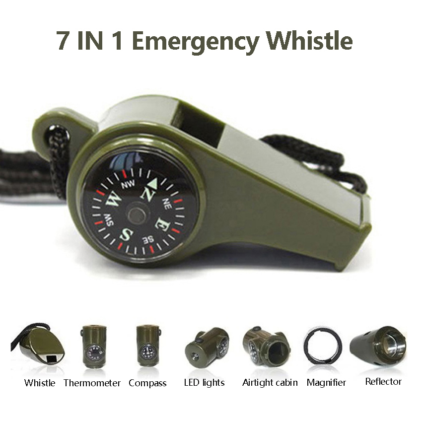 Compass Whistle 7 In 1 Outdoor Emergency Camping Hiking Mountain Travel Whistle With Thermometer Army Green Survival Gear Tools