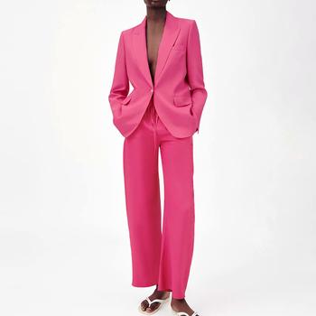 Za biurowe damskie garnitury i spodnie garnitury 2021 nowe modne proste młodzieżowe damskie różowe czerwony garnitur casual szykowne miejskie garnitury damskie tanie i dobre opinie JUESHEYIREN CN (pochodzenie) Na wiosnę jesień COTTON Wiskoza Tencel Lyocell Na co dzień Z KIESZENIAMI plusz 30 Cotton50 Rayon20 Tencel