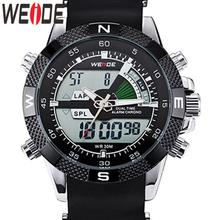 WEIDE zegarek mężczyźni luksusowa marka moda zegarki sportowe zegarek kwarcowy analogowy LED męski zegarek wojskowy zegarek Relogio Masculino tanie tanio 21cm Podwójny Wyświetlacz 3Bar Klamra Ze stopu 16mm Hardlex Kwarcowe Zegarki Na Rękę Metal Silikon 47mm WH1104-14C 22mm