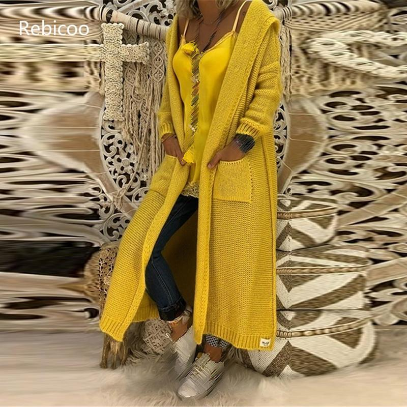 Women's Sweater Autumn Winter Solid Outerwear Stylish Warm Long Sleeve Knitwear Hooded Ladies Plus Size Coat