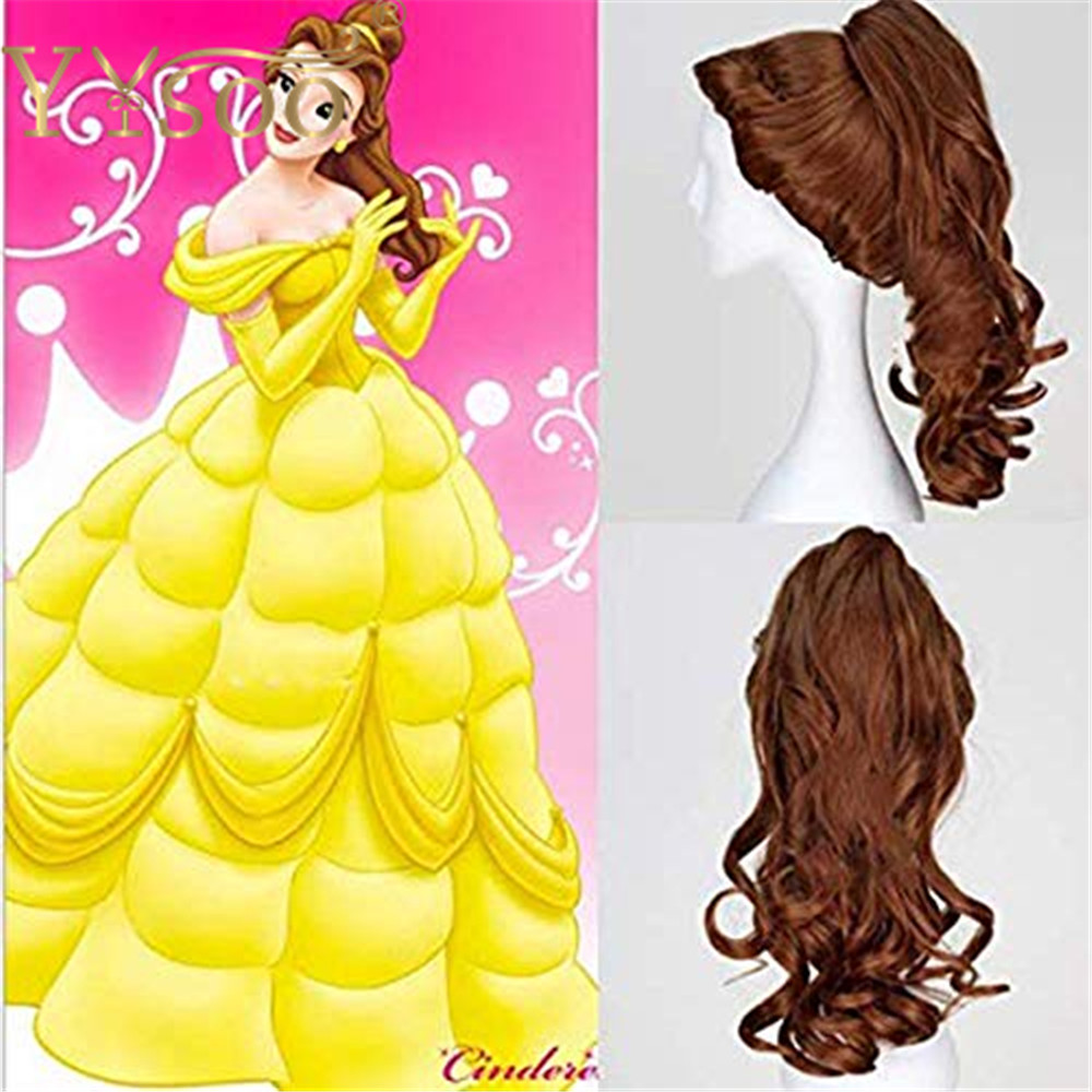 YYsoo Beauty and the Beast Belle Princess Cosplay Wigs for Women Synthetic Hair Layer Ponytail Costume Anime Halloween Wig